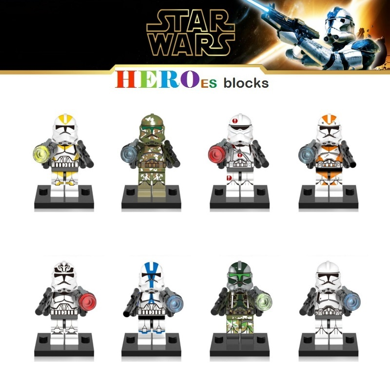 Star Wars Wolf Pack Clone Storm Trooper Soldiers Building Blocks Commander Utapau Gree Neyo Figure Bricks Toys Compatible Legoed