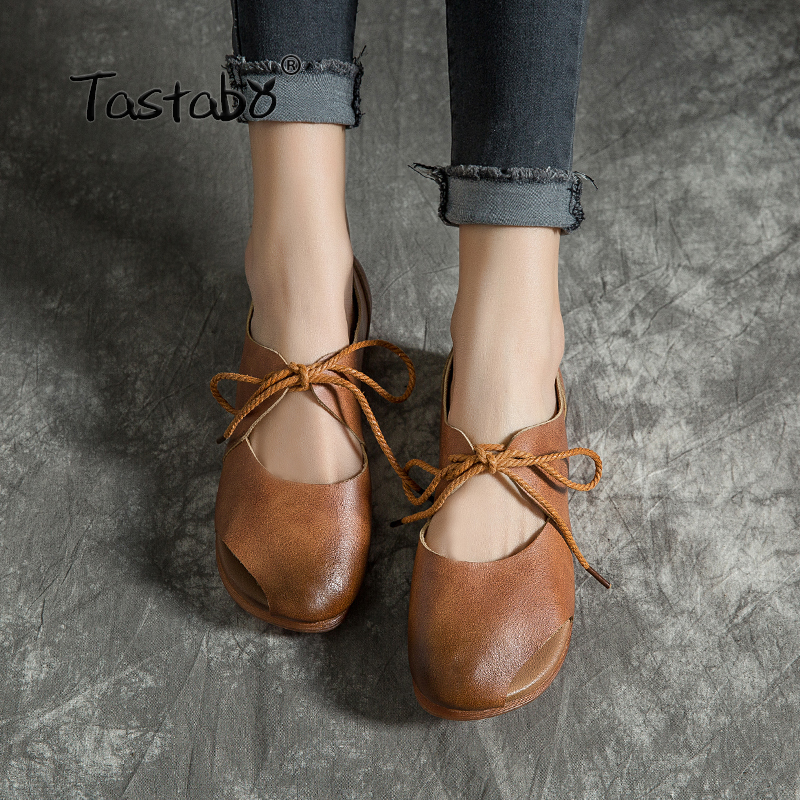 Tastabo Leather shoes Comfortable soft soled shoes Yellow brown flats Casual wild breathable Handmade women s