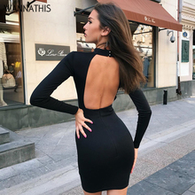 цена на WannaThis Backless Dresses Hight Neck Hollow Out Long Sleeves Sexy Slim Casual Black 2019 Fashion Autumn Women Party MIni Dress