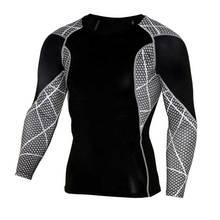 Hombres GYM Workout Fitness Tops Larga Camiseta para Correr Deporte Yoga tren Pro Secado rápido de Compresión Ejercicio Muslce Culturismo Camiseta S88