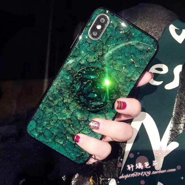 Glitter Marble & Diamond Ring Holder Silicon Phone Case for iPhone