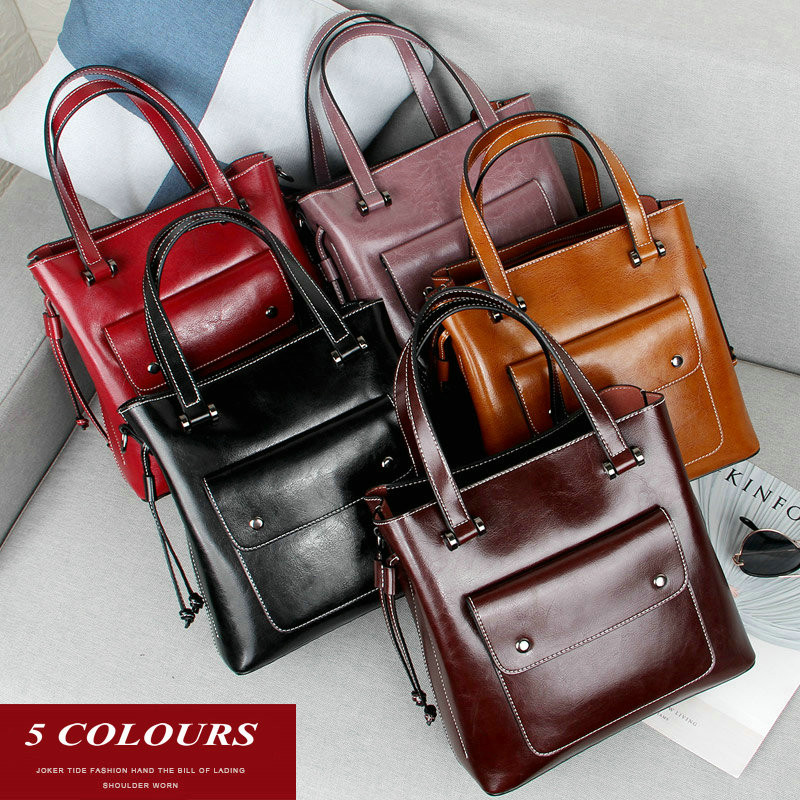 QIAOBAO Fashion Oil Wax Genuine Leather Women Bag Large Capacity Tote Bag Big Ladies Cowhide Shoulder Bags Famous Brand Bolsas fashion women handbag pu leather women bag large capacity tote bag big ladies shoulder bags famous brand bolsas feminina