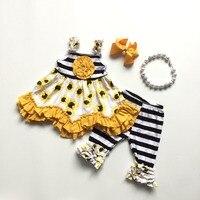 Одежда для маленьких девочек лето-весна жёлтый Подсолнух платье наряды черный белый stripee детская бутики с аксессуарами