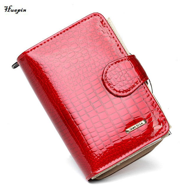 2017huapin  new Leather wallets  Patent leather Hand bag Short buckle lady wallet Brand fashion design wallet free delivery