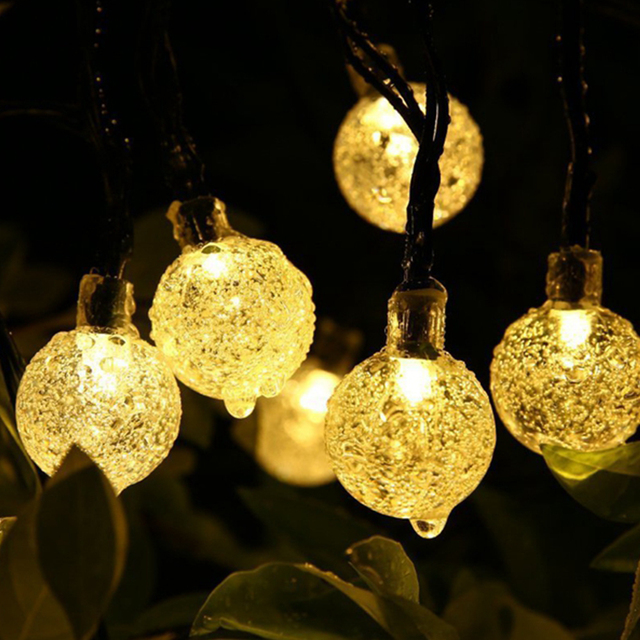 Festoon Globe Bulb Solar LED String Lights Chain Outdoor Waterproof LED  Ball Garland Party Wedding Yard