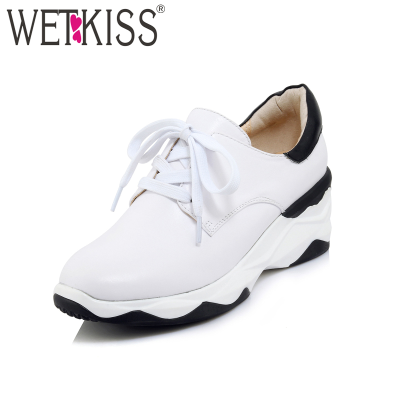 WETKISS Women Sneakers Genuine Leather Lace up Shoes Female Wedges Footwear Platform Shoelace Flats Ladies High Qualtiy Shoes glowing sneakers usb charging shoes lights up colorful led kids luminous sneakers glowing sneakers black led shoes for boys
