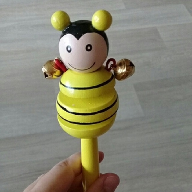 16CM Colorful Wooden Rattle Children Toys Random Color Bell Shaker Stick Toy Cartoon Animal Baby Children's Educational Toys P0 2