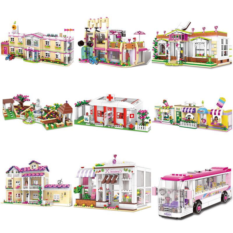 Xingbao City Girls Series School Building Blocks Bricks Bus Compatible LegoINGlys Funny Model Set Toys For Girls Birthday Gift 10406 girls pop star show stage building blocks set 448pcs assemble toys compatible with blocks for girls gift