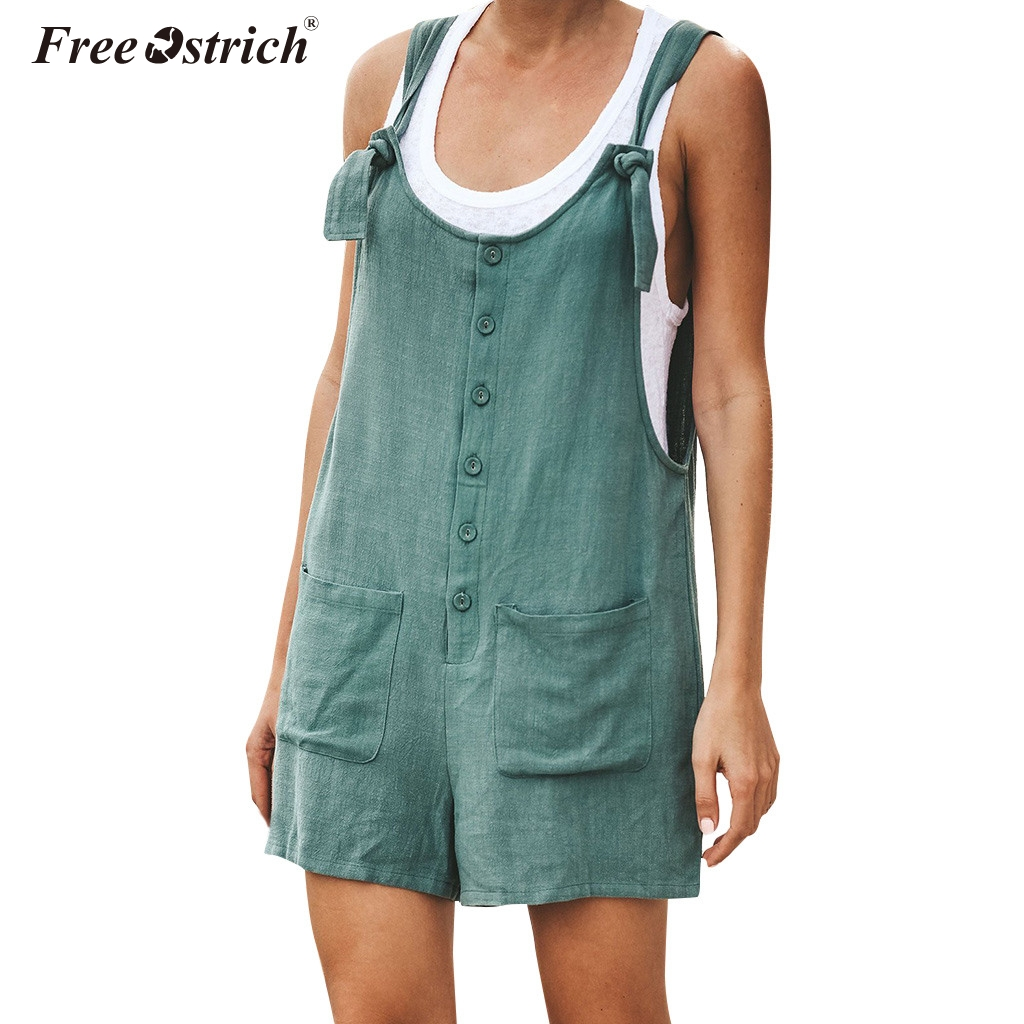 Free Ostrich Women Rompers Solid   Jumpsuit   Summer Short Pleated Overalls   Jumpsuit   Female Wrapped Strapless Playsuit N30