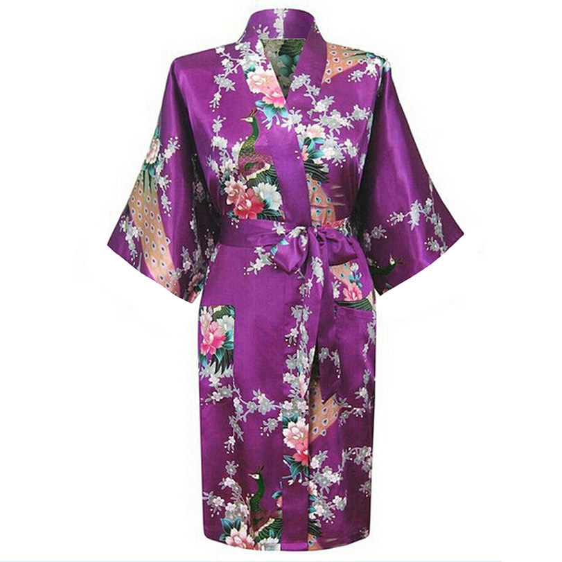 High Quality Purple Womens Silk Rayon Bathrobe Novelty Kimono Gown Sexy Floral Sleepwear ...