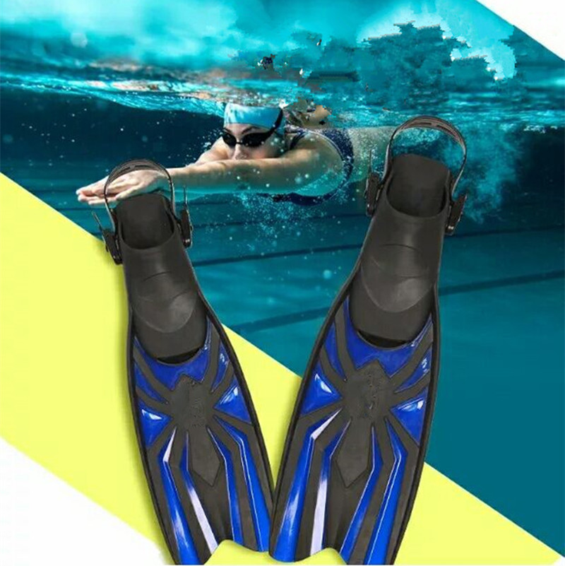 Swim Fins for Adult Adjustable Swimming Frog Shoes Silicone Professional Dive Team Open Diving Snorkeling Long