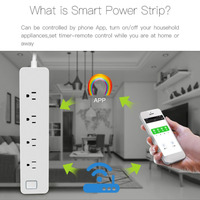 New Wireless Remote Control Power Strip 4 Ports Individual Power Socket WiFi Timing Set Separately US Plug Smart Home Power Plug