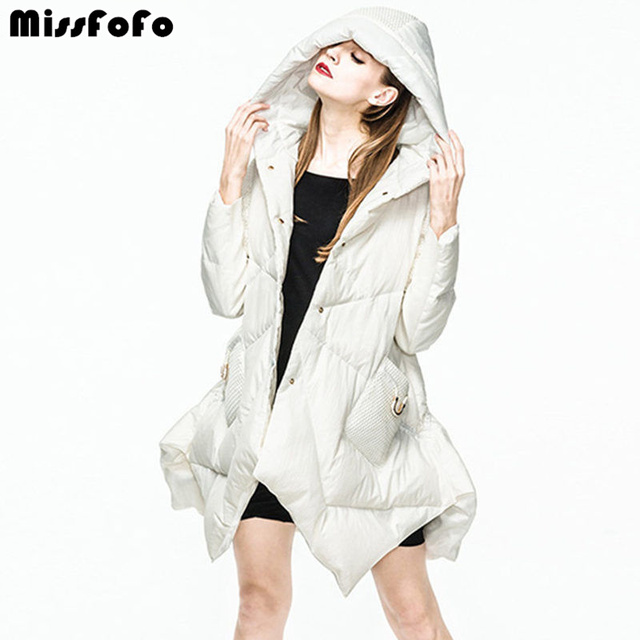 MissFoFo женский пуховик и куртки 2018 Новая мода пуховик парка черный белый утиный пух свободный тонкий женский длинный пуховик