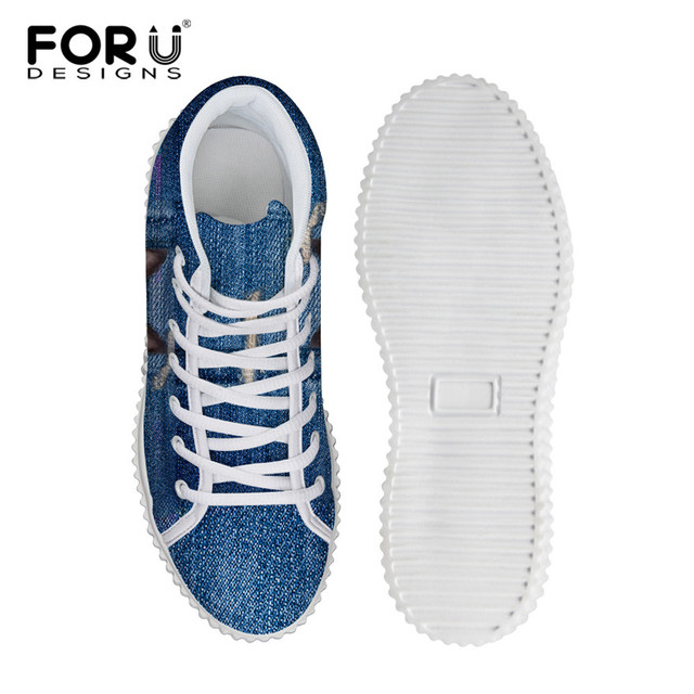 FORUDESIGNS Stylish Womens High Top Platform Shoes,Cute Pet Cat Blue Denim Printed Shoes for Ladies,Casual Lace-up Shoes Flats
