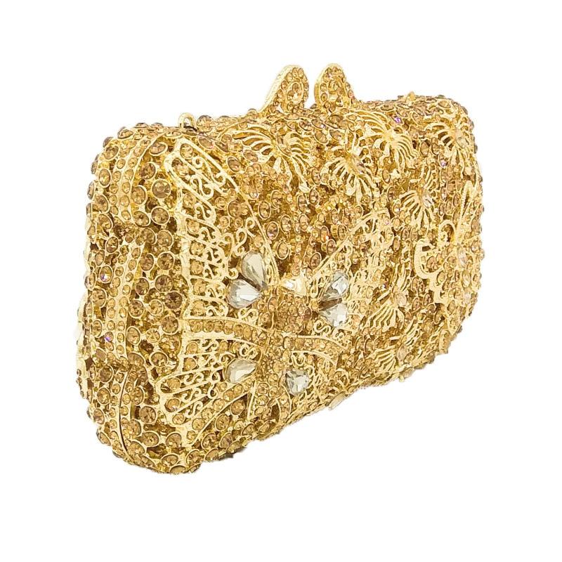 Boutique De FGG Gold Diamond Butterfly Minaudiere Women Crystal Clutches  Purse Evening Bag Bridal Wedding Dinner Clutch Handbag-in Top-Handle Bags  from ... 82a396e3a695