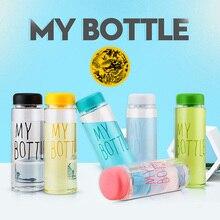 A minha garrafa de Plástico 500 ml Garrafas De Água PP cor Transparente ou fosco Esporte estilo Coreano resistente ao Calor À Prova de Fugas Garrafa de viagem