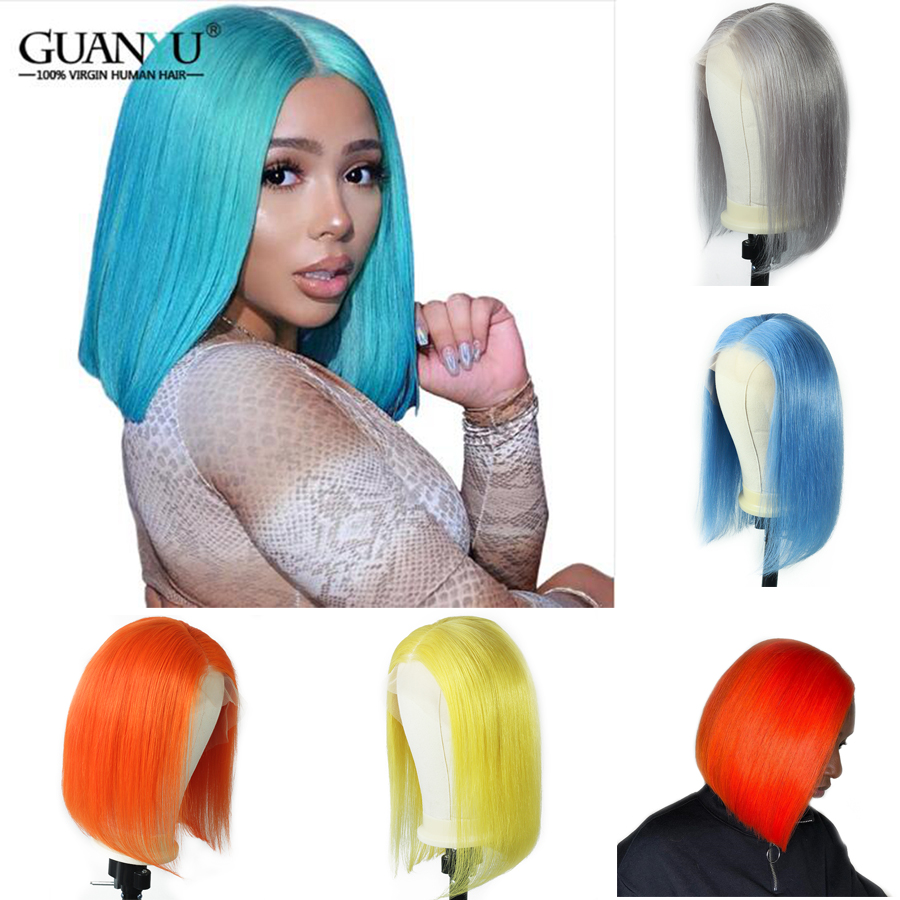 150% Density 13*4 Lace Front Human Hair Wigs Brazilian Remy For Black Women Short Bob Wig Pre Plucked 613 Blonde #Pink #Blue #Grey Lace Front Wigs image