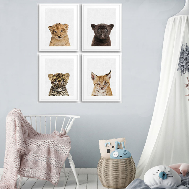 Minimalist Safari Cat Animal Canvas Posters and Prints Nursery ...