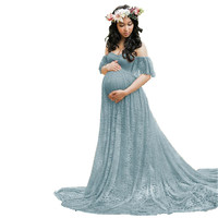 CHCDMP New Elegant Lace Maternity Dress Photography Props Long Dresses Pregnant Women Clothes Fancy Pregnancy Photo Props Shoot