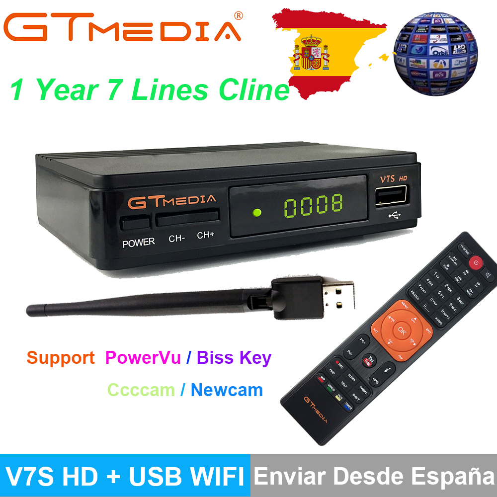 Freesat V7S HD DVB-S/S2 Satellite Receiver Full 1080P+USB WIFI Support YouTube Ccam Europe Spain Cline 1 Year PK FREESA V7 HDFreesat V7S HD DVB-S/S2 Satellite Receiver Full 1080P+USB WIFI Support YouTube Ccam Europe Spain Cline 1 Year PK FREESA V7 HD