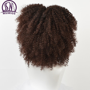 Image 2 - MSIWIGS 갈색 합성 Kinkly 곱슬 가발 여성을위한 4 색 Ombre 금발 짧은 아프리카 가발 아프리카 계 미국인 흑인 중간 부분 머리카락