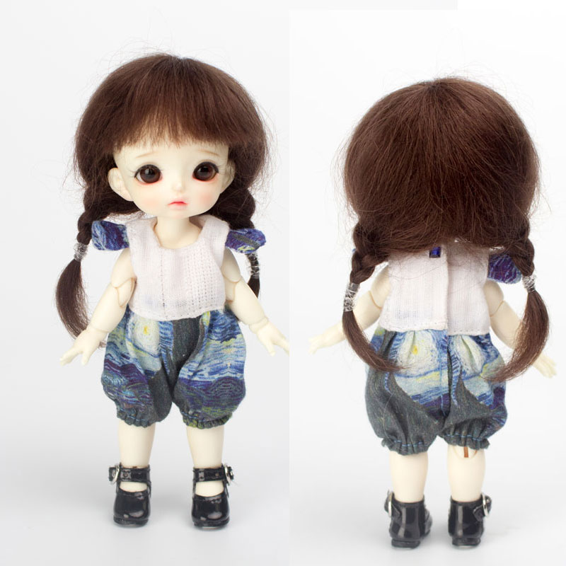 2019 New Arrival 5-6 Inch Ob11 1/8 Bjd SD Doll Wig Fashion Style Mohair Wire Double Plait Doll Wig Hair For Dolls Accessories