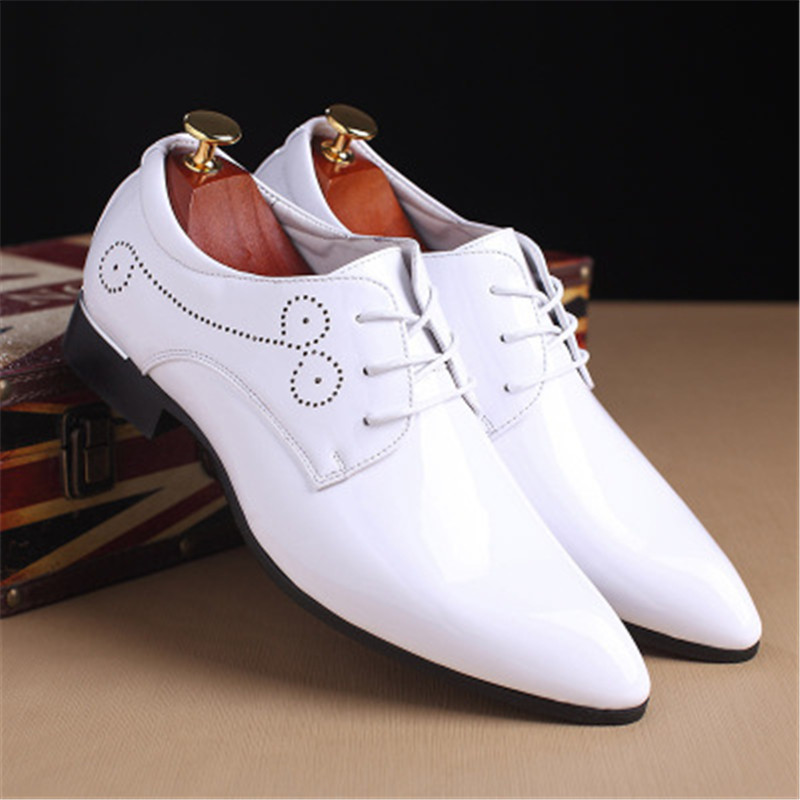 Patent leather Oxford shoes men's dress shoes clothing pointed leather luxury business wedding shoes 2018 new dance shoes 5