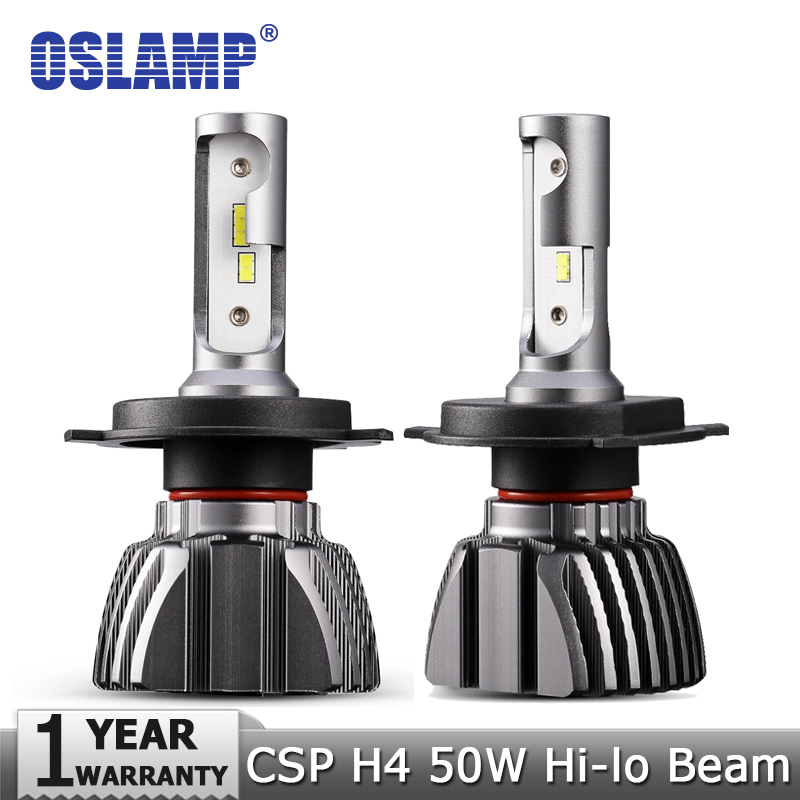 Oslamp H4 Hi-Lo Beam LED Car Headlight Bulbs 50W 6500K 8000lm Auto Led Headlamp CSP Chips Headlights 12v 24v Fog Lamp Bulb ironwalls 2pcs set car headlight cree csp chips 72w hi low beam led driving light auto front fog light for audi toyota honda