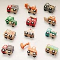 Mini Wooden Car Toy 12pcs Developmental Educational Mini Car Set Learning Ornaments Wooden Vehicle Model