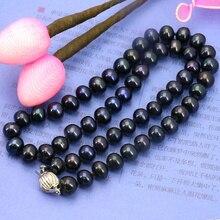 8-9mm Negro de agua dulce collar de perlas de 18 pulgadas DIY estilo de las mujeres venta caliente de la joyería de diseño de moda al por mayor envío gratis