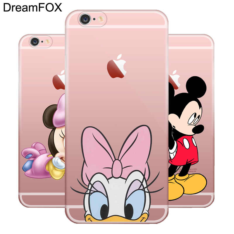 DREAMFOX M086 Mickey Minnie Mouse couvercle de boitier en silicone TPU souple pour Apple iPhone 11 Pro X XR XS Max 8 7 6 6S Plus 5 5S SE 5C 4 4S