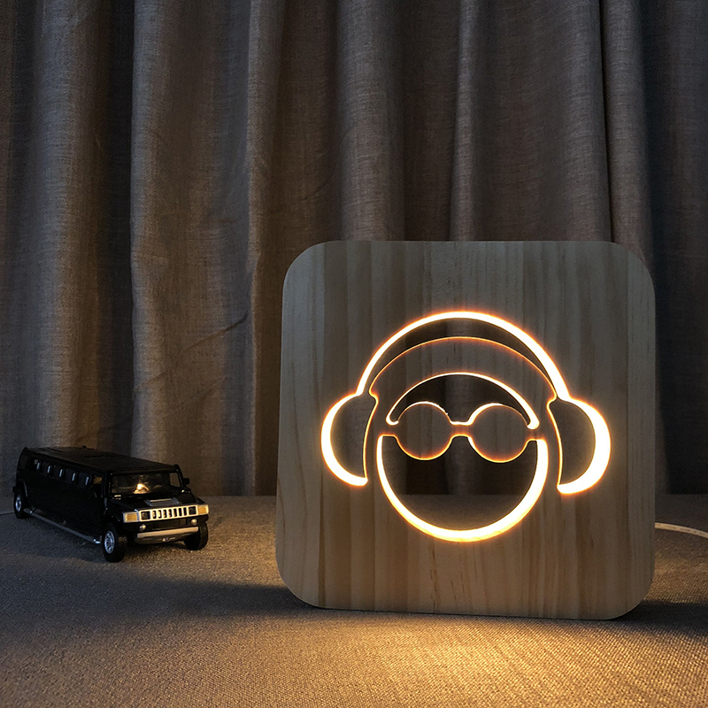Music Addiction guy listening songs shapes wooden LED night