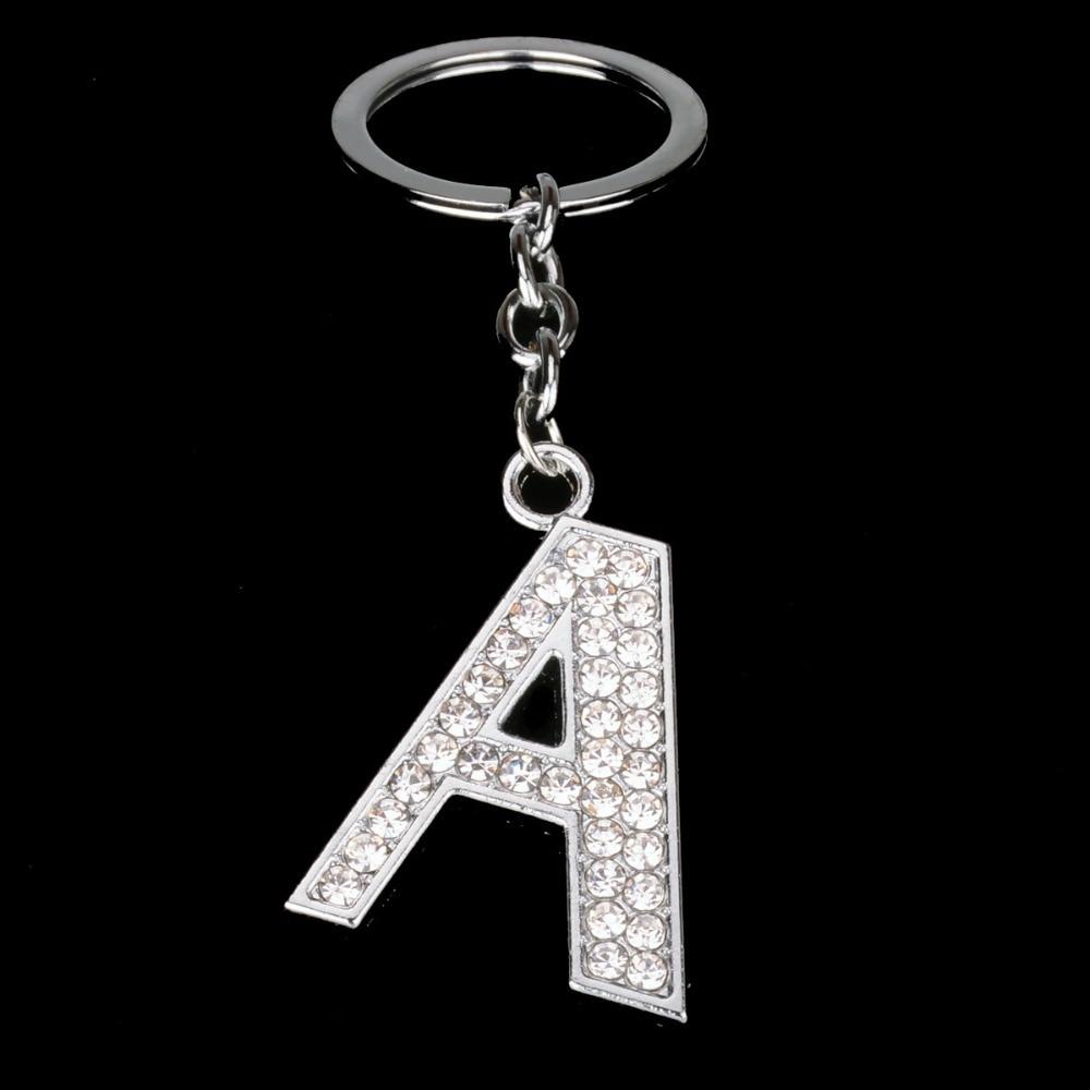 Bespmosp Crystal Alphabet A-Z Silver Rhinestone Letter A B C D E F H J K L M N O P Q Pendant Keyrings KeyChains Keyfob Gifts