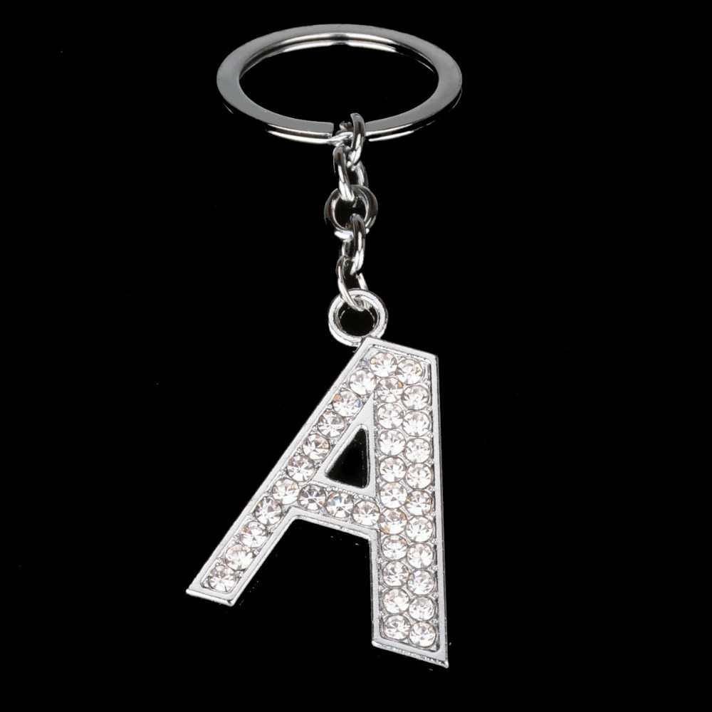 Bespmosp alfabeto de cristal A-Z prata strass letra a b c d e f h j l m n o p q pingente chaveiros keyfob presentes