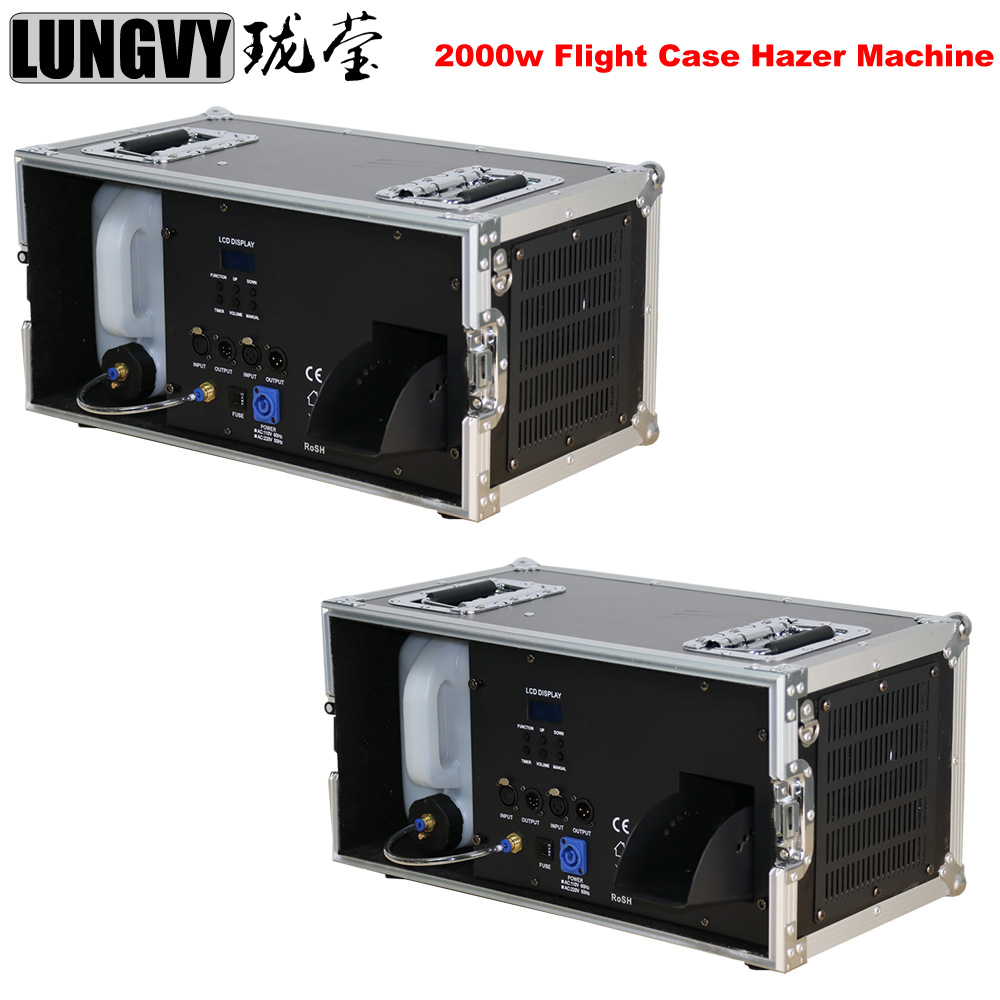 Free Shipping 2pcs/lot 2000W <font><b>Stage</b></font> Mist Haze Machine with DMX Control Flight Case Package <font><b>Stage</b></font> Lighting Effect <font><b>Hazer</b></font> Fog image