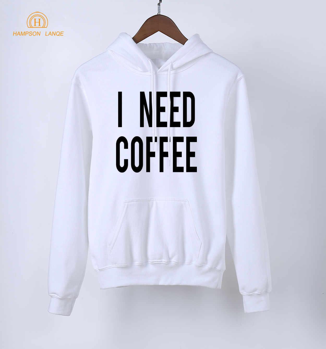 dd31a75c Мне нужно кофе забавные взрослых толстовки 2019 новый стиль демисезонный  для женщин Кофты черный белый серый