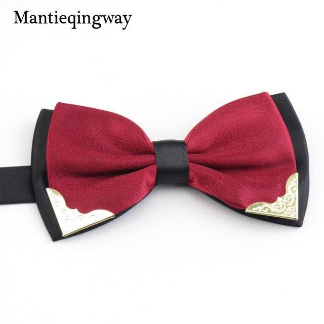 Бренд mantieqingway лук Галстуки для Для мужчин Свадебная вечеринка модные Повседневное Карамельный цвет галстук двухцветный бабочкой классические полиэстер с одноцветной бабочкой