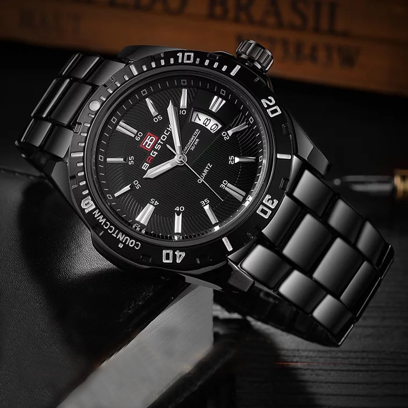 BAGSTOCK Watch Men Fashion Date Waterpoof Top Brand Mens Watches Calendar Noctilucent Metal Wristwatch With Gifts Box 2018 NEW