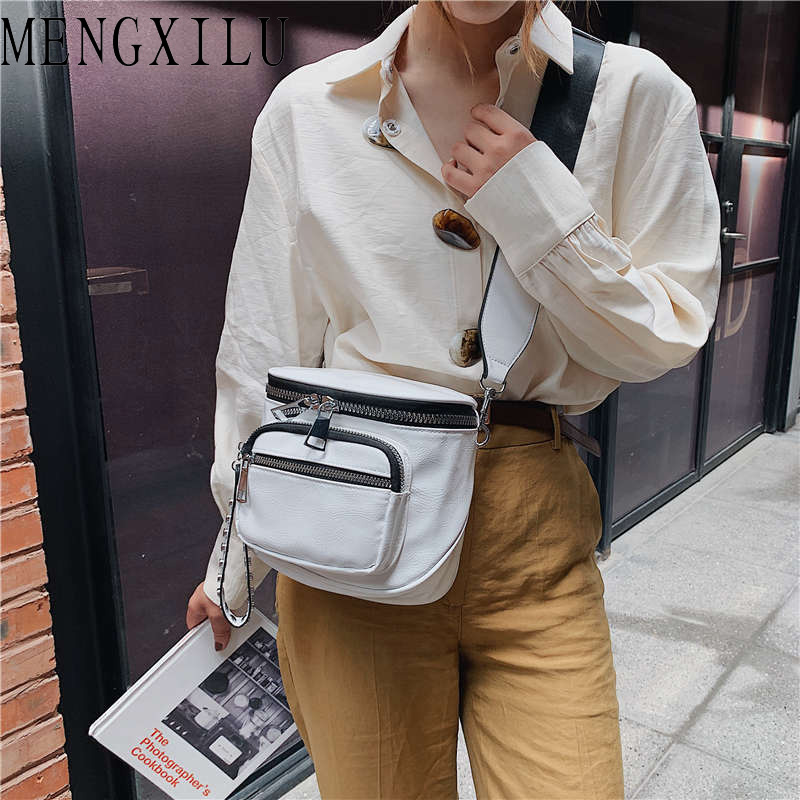 MENGXILU Fashion Solid PU Saddle Messenger Bag Luxury Handbags Women Bag Designer Winde Shoulder Strap Crossbody Bag Bolso Mujer