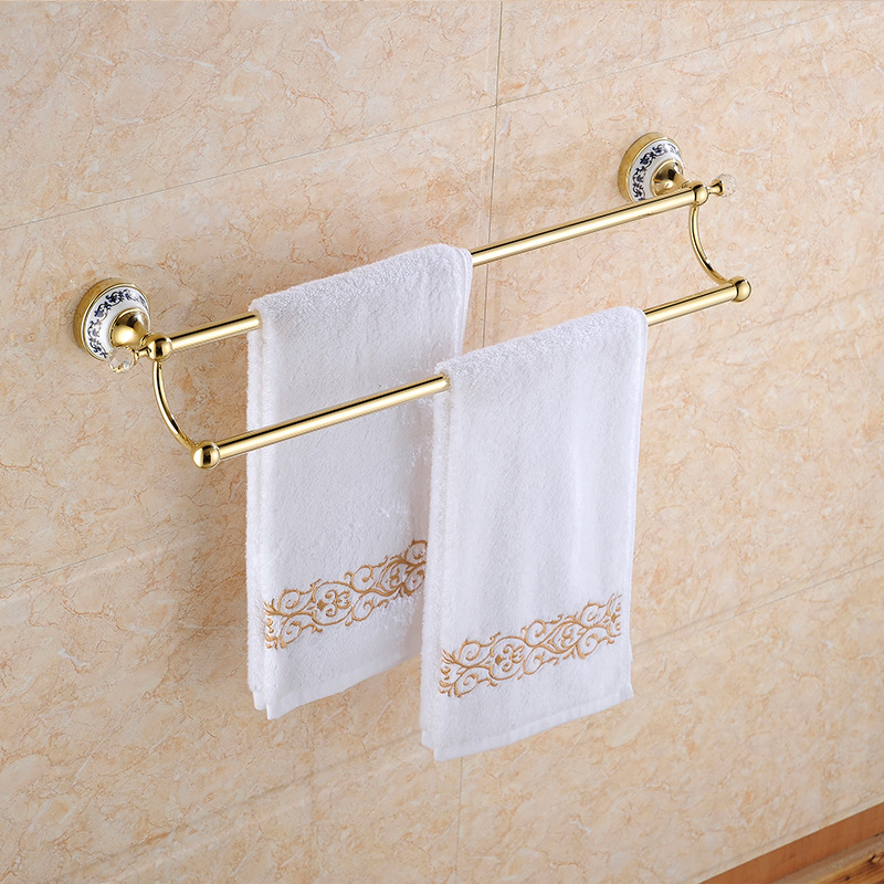 Oil Rubbed Black Bronze Bathroom Towel Rail Bar Rack Holder Bathroom Shelves B5139 Double Simple Solid Brass Shelf цена