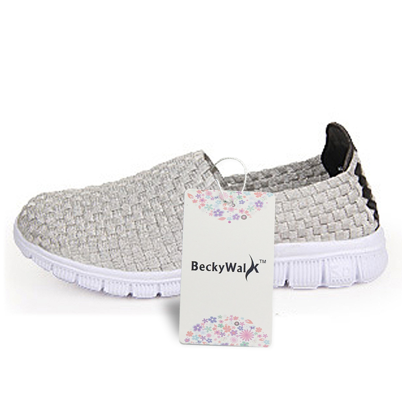 BeckyWalk Handmade Woven Shoes Women Casual Shoes Slip On Breathable Flat Sneakers Spring Autumn Women Flats Loafers WSH2917