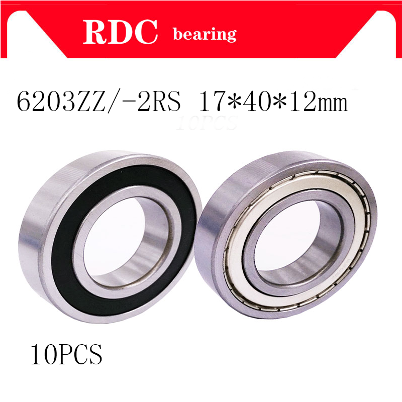 Free shipping 10PCS 6203ZZ 6203 2RS Shielded deep groove ball bearing 17*40*12 mm 6203 TB6203ZZ image