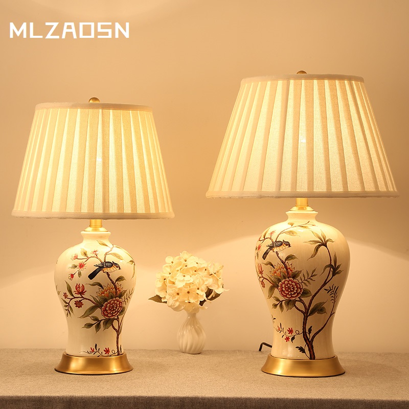Ceramic table lamp copper bedroom bedside lamp new chinese ...