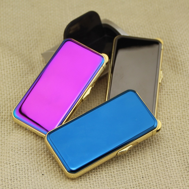 Electronic Cigarette lighter Windproof ultra thin Metal pulse USB Rechargeable Flameless Electric Arc Cigar Cigarette Lighter