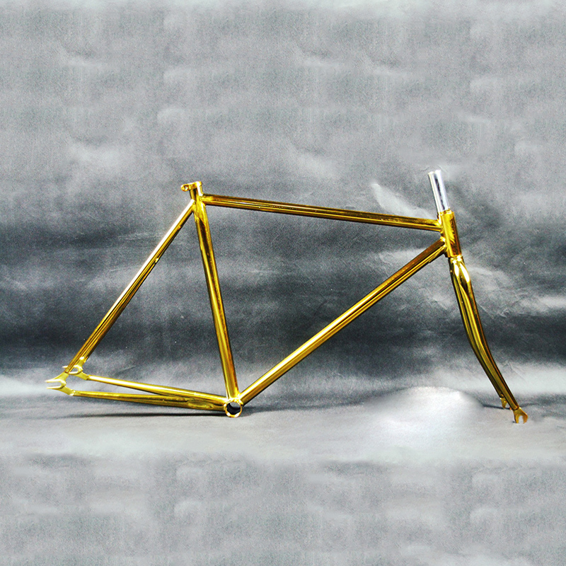 Retro Gold plating bicycle frame Fixed Gear Bike overgild steel frame fork 700c 48cm 52cm bicycle frame frame 700c 48 50 51 54 58 60cm visp790 fixed gear frame aluminium alloy mountain bicycle frame road bike frame fork