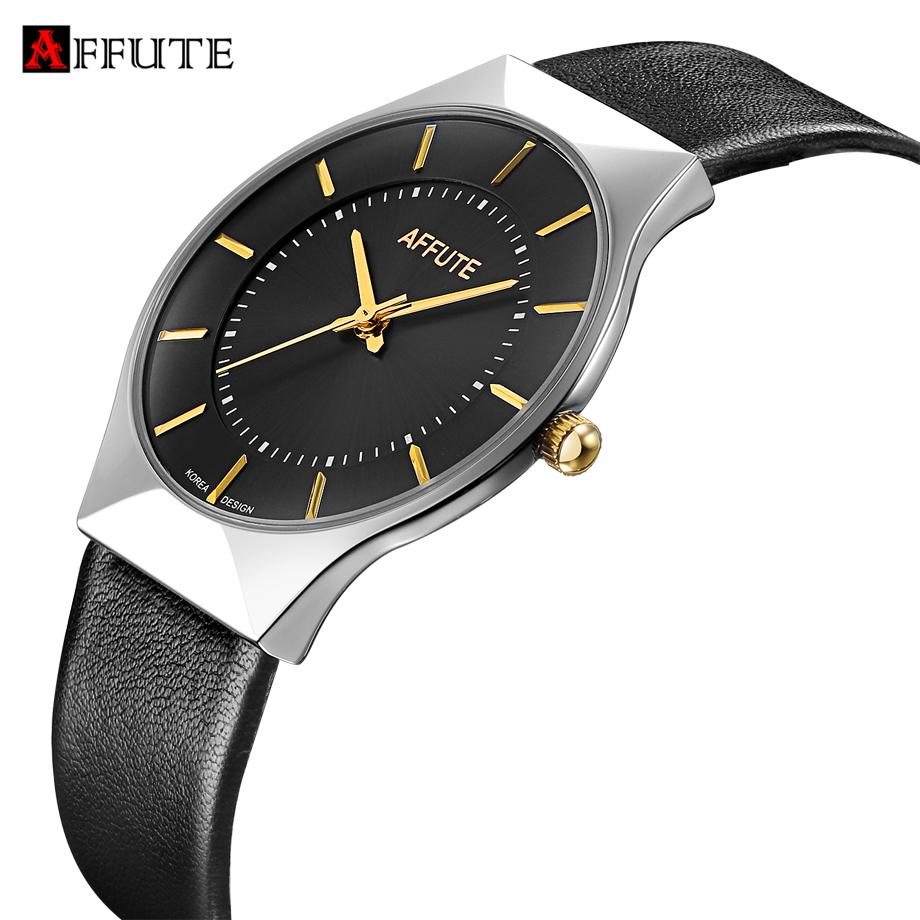 AFFUTE Mens Watches Top Brand Fashion Simple Men Leather Wristwatches Ultra Thin Dial Clock Man Quartz-Watch erkek kol saati yazole brand lovers watch women men watches 2017 female male clock leather men s wrist watch girls quartz watch erkek kol saati