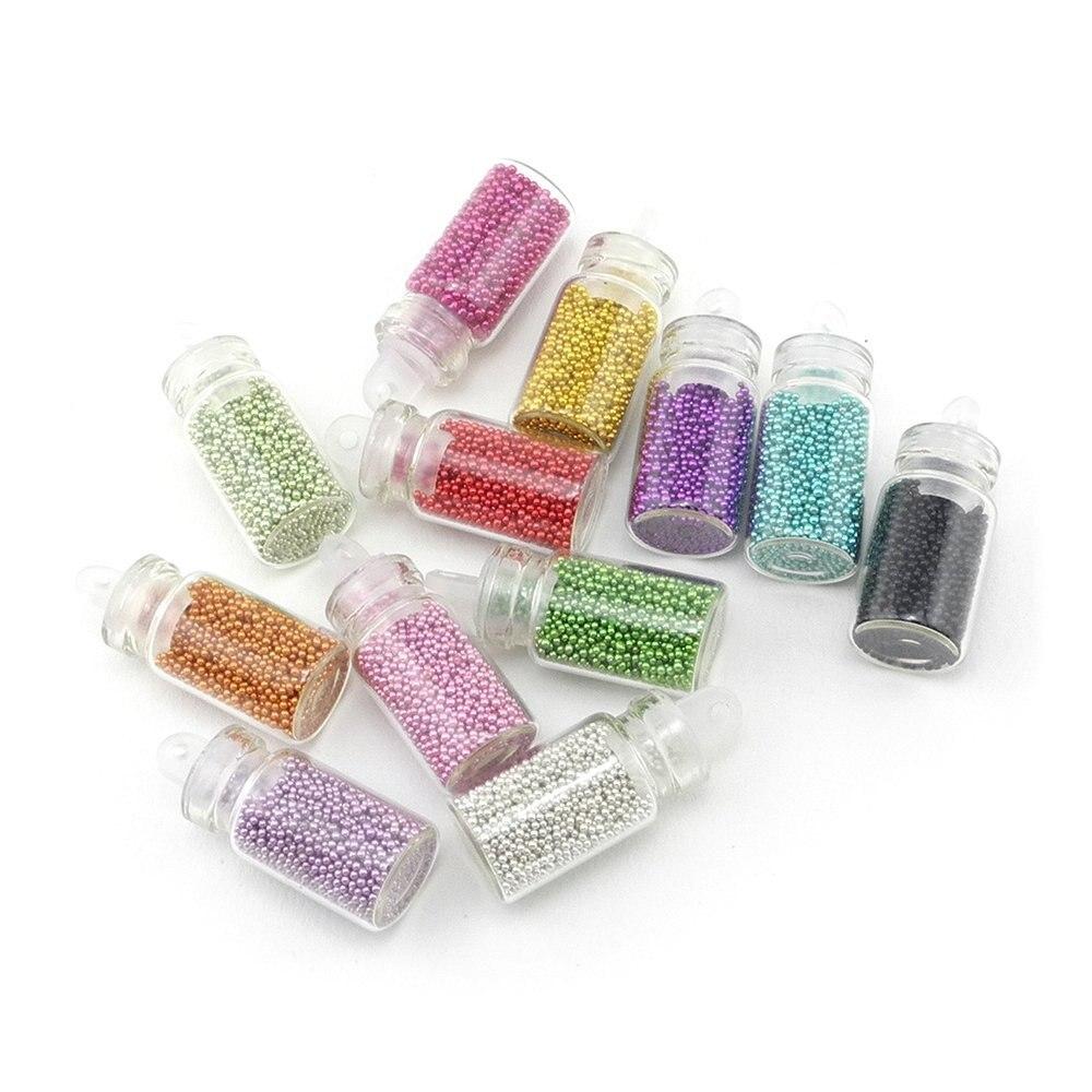 20 Set/ Lot 12 Color Tiny Circle Bead Nail Art Decorations 3D Nail Tips Decorations Caviar Nail Art Bottle Set D0057X