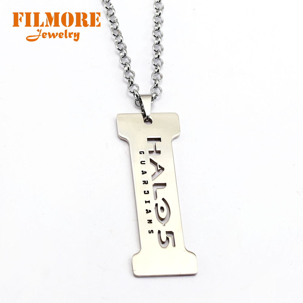 New Arrival Halo 5 Guardians Pendants Necklace Aureole Spartan Metal Keychain AXIOS Key Holder Chaveiro Game Jewelry Souvenirs