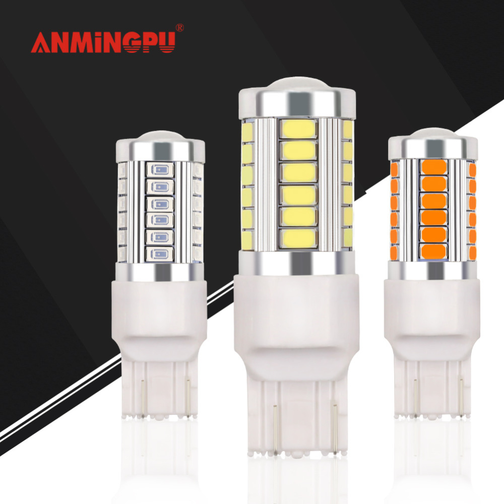 ANMINGPU 1x Signal Lamp W21/5W T20 Led Bulb Reverse Backup Turn Signal Light 33 SMD 5730 12V 7440 W21W WY21W 7443 Canbus White 7443 7440 t20 6w 300lm 27 x smd 5050 led warm white car steering brake backup light 12v