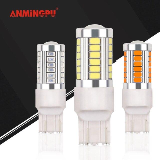ANMINGPU 1x сигнальная лампа W21/5 Вт T20 Светодиодная лампа заднего вида Поворотная сигнальная лампа 33 SMD 5730 12 V 7440 W21W WY21W 7443 Canbus Белый